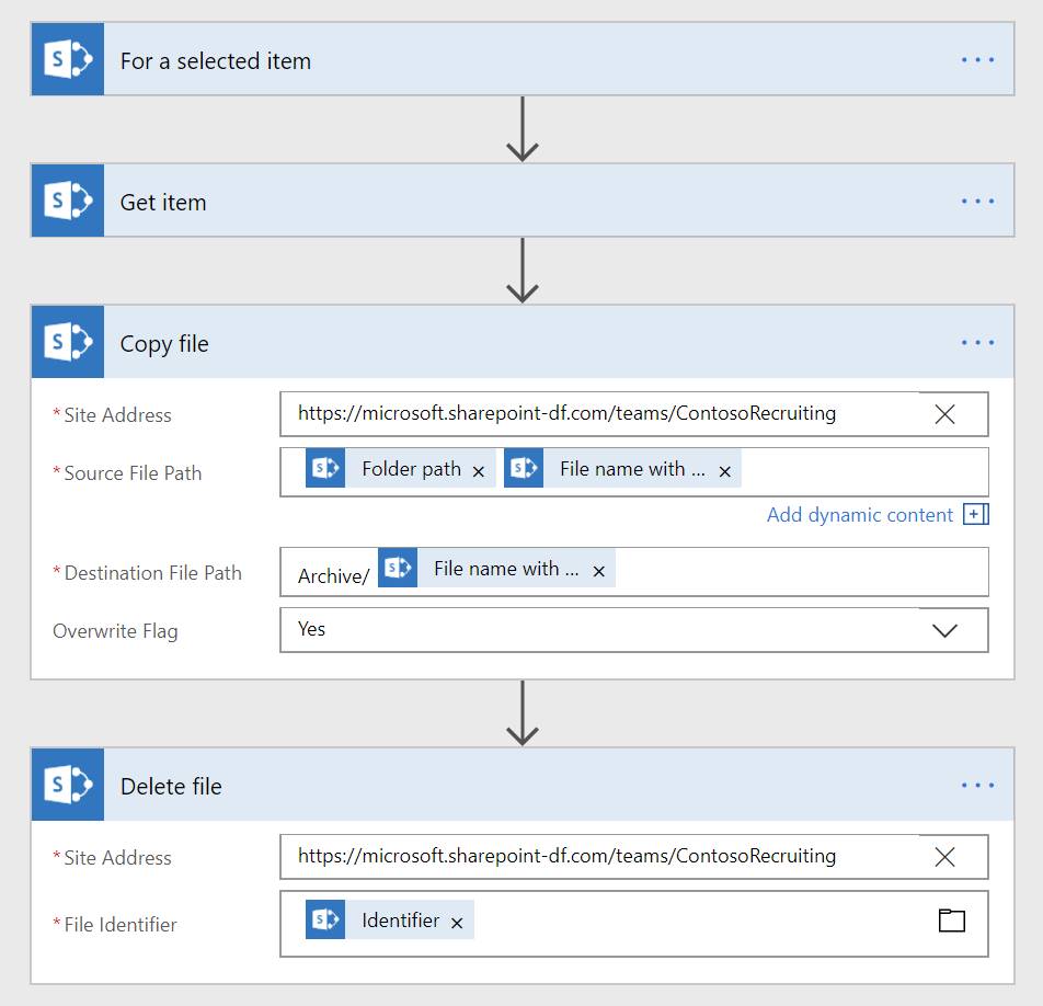 Copy or move files from/to SharePoint using Microsoft Flow – Chaks