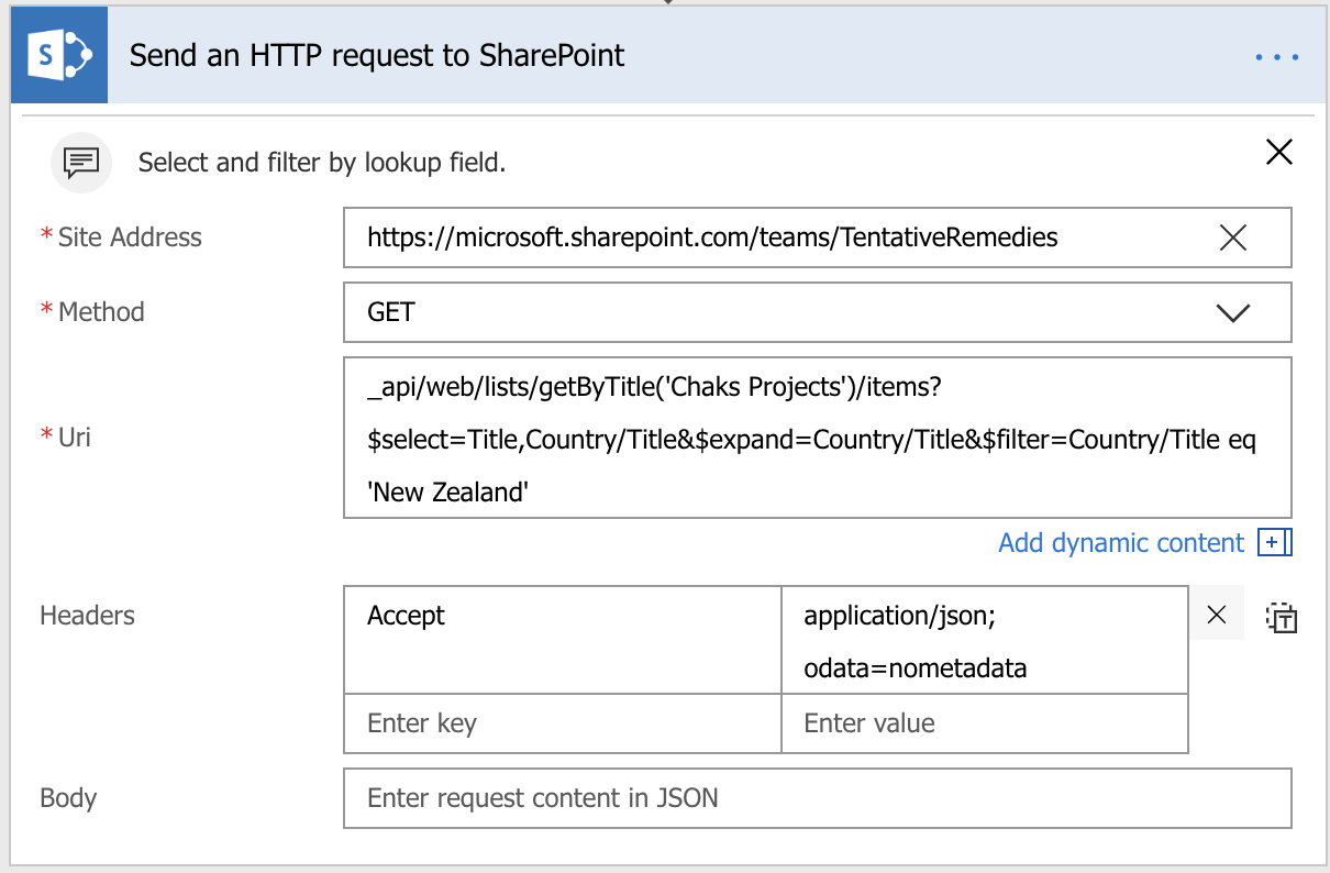 Working with the SharePoint Send HTTP Request flow action – Chaks Corner